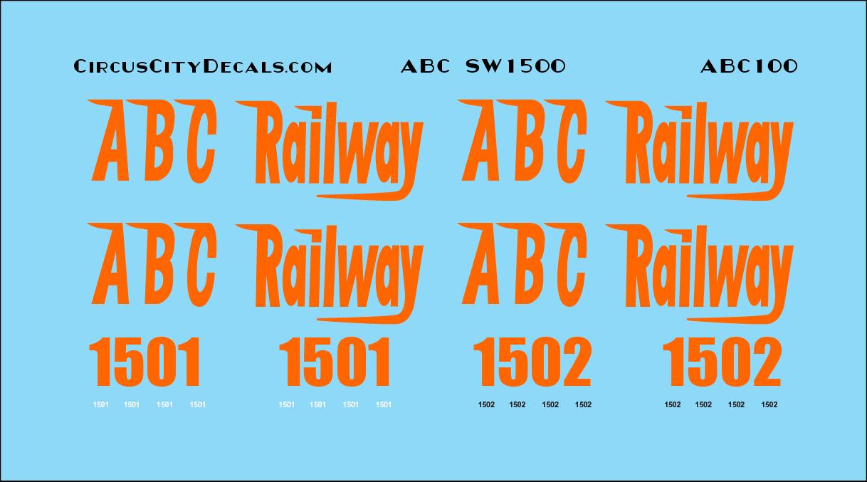 ABC Railway SW1500 1501 1502 N Scale Decal Set