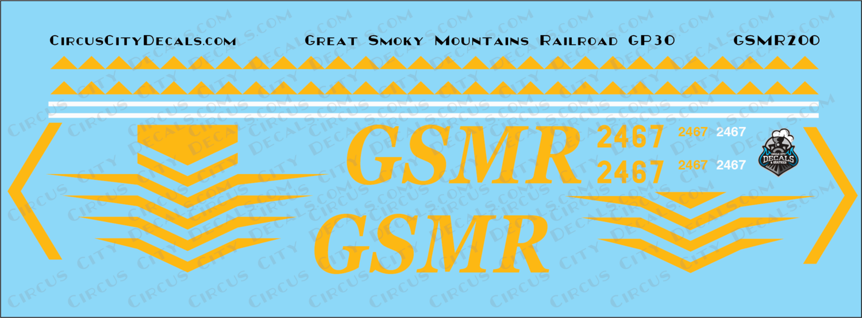 Great Smoky Mountain Railroad GP30 2467 HO Scale Decal Set