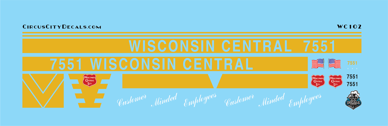 Wisconsin Central 7551 Customer Minded Employees Unit SD45 WC CN N Scale