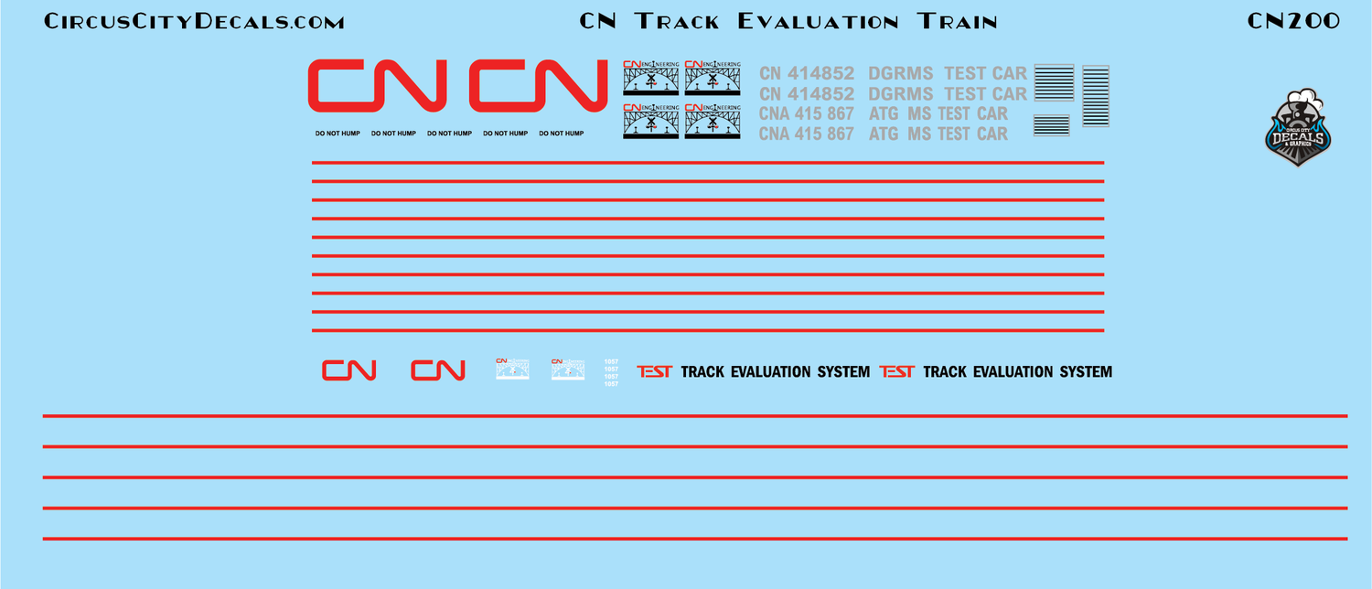 CN Canadian National Track Evaluation Train O Scale Decal Set