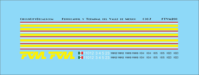 FTVM C30-7 Ferrocarril y Terminal del Valle de Mexico HO scale Decal Set
