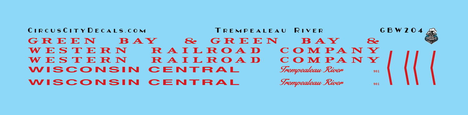 Green Bay & Western Wisconsin Central Trempealeau River 901 GBW WC Business Car Decals HO Scale