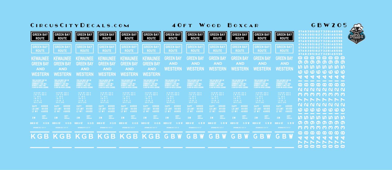 Green Bay & Western GBW 40' Wood Boxcar Car Data Decals HO Scale
