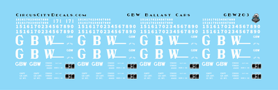 Green Bay & Western Ballast Car Decals HO Scale