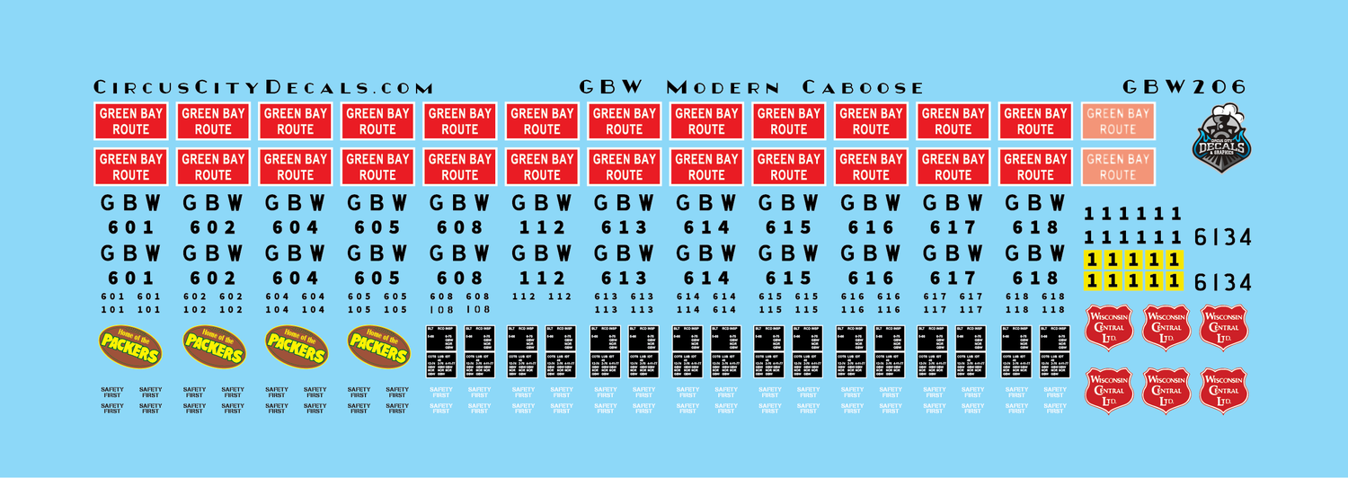 Green Bay & Western Modern Caboose Decals HO Scale