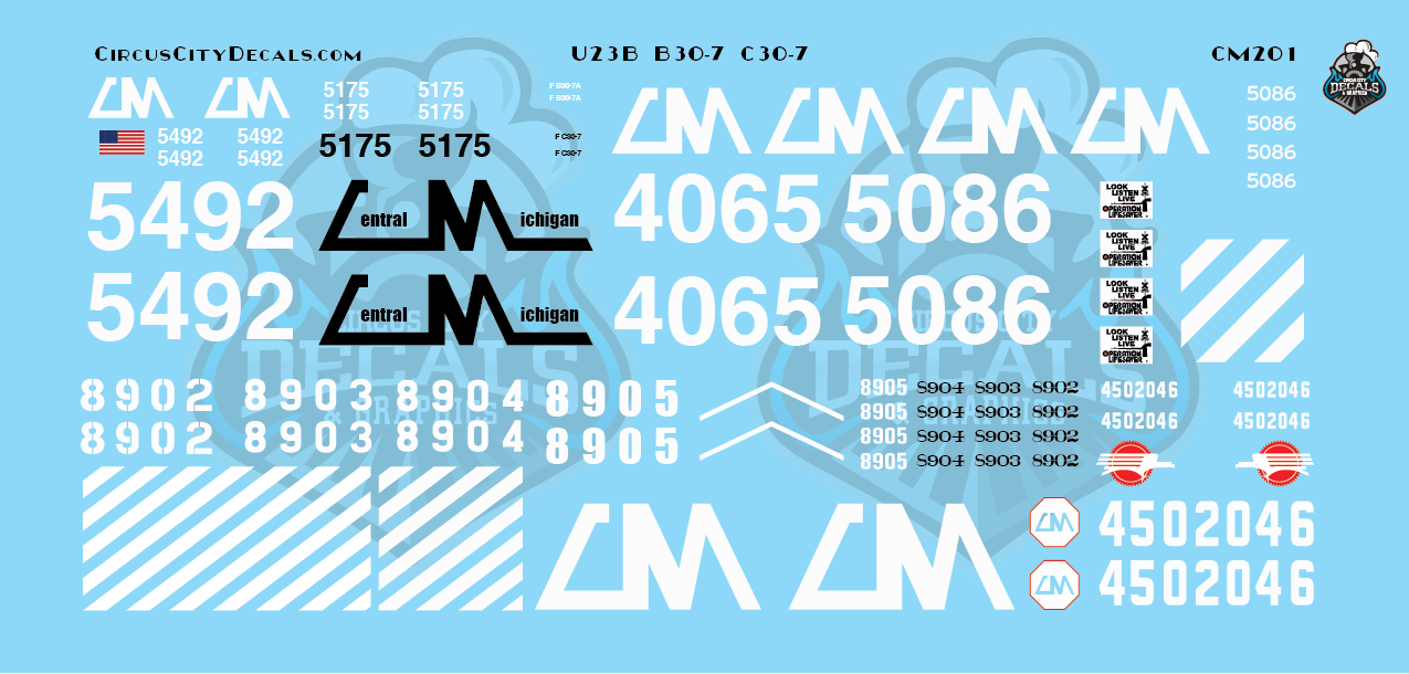 Central Michigan U23B B30-7 C30-7 CMGN HO Scale Decals