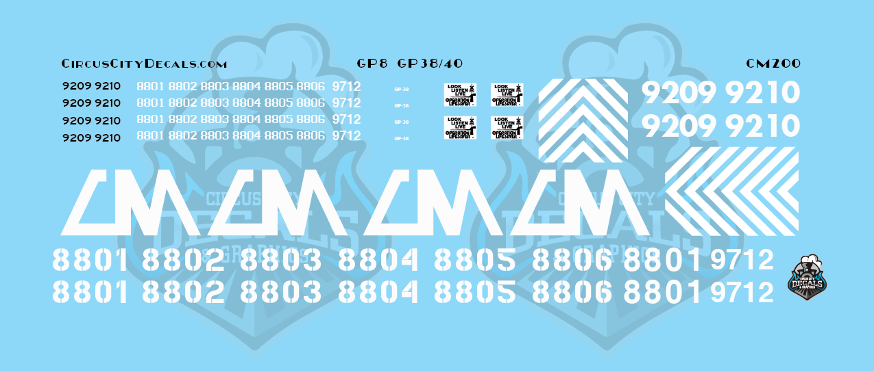 Central Michigan GP8 GP38 GP40-2LW CMGN S Scale Decals