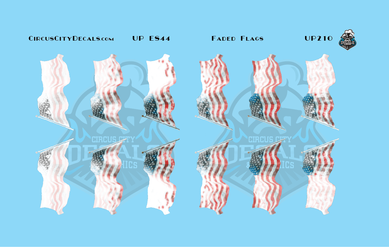 Union Pacific ES44 Faded Flags HO Scale Decals