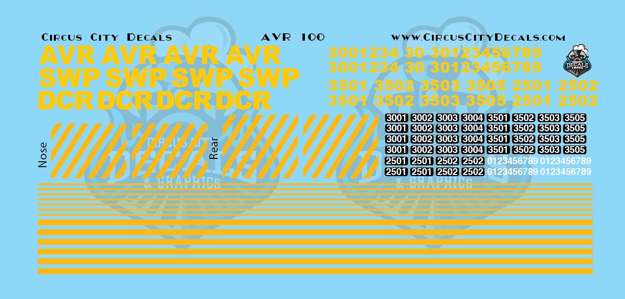 AVR SWP DCR Locomotive N Scale Decal Set