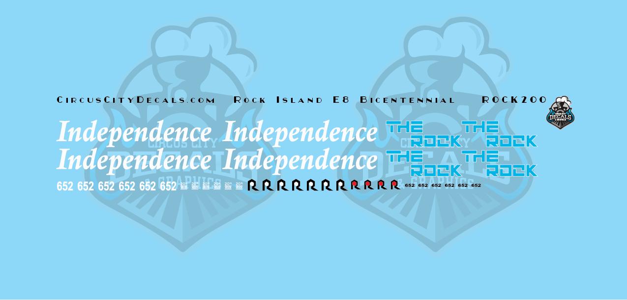 Rock Island Bicentennial E8 652 HO Scale Decal Set