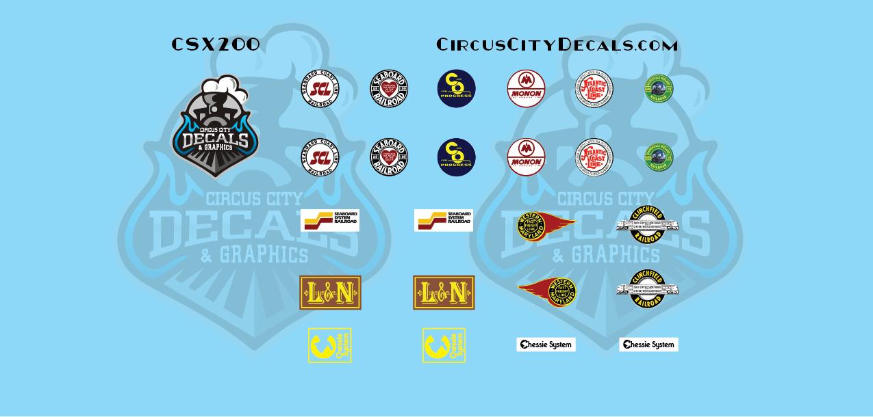 CSX Commemorative Logos CW44AC SD40-3 HO Scale Decals