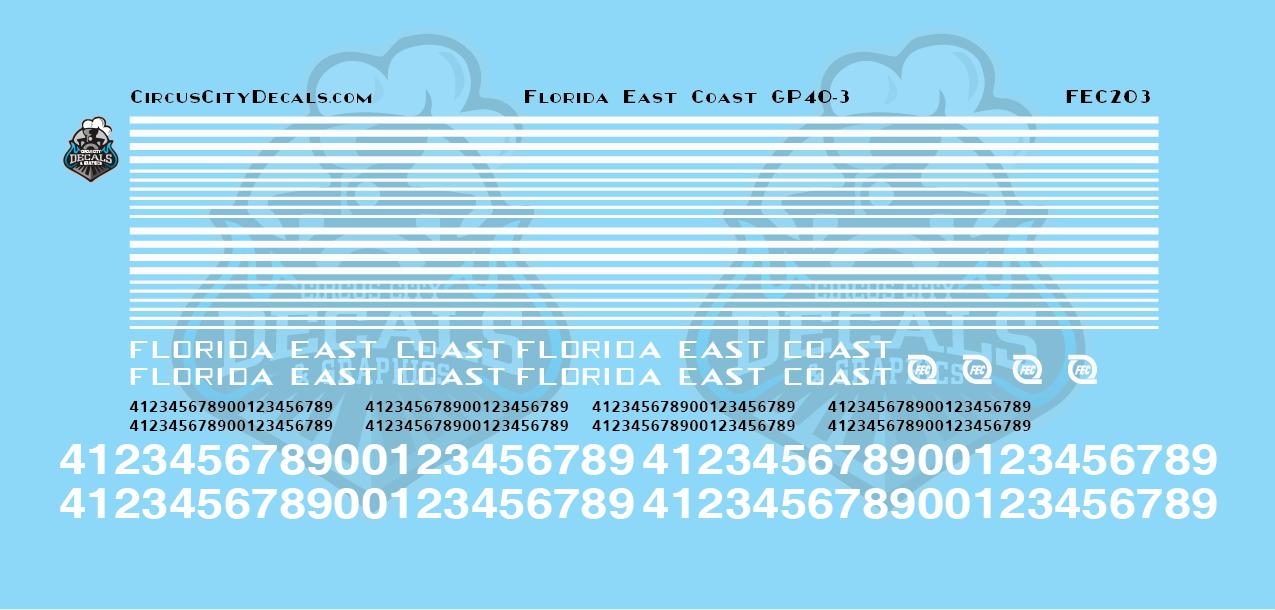 Florida East Coast FEC GP40-3 HO Scale Decal Set
