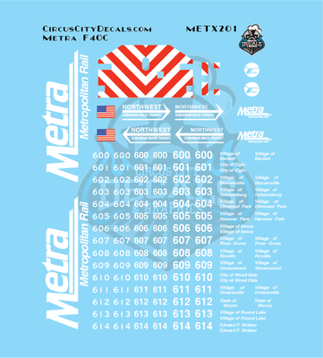 Metra METX F40C N Scale Decal Set