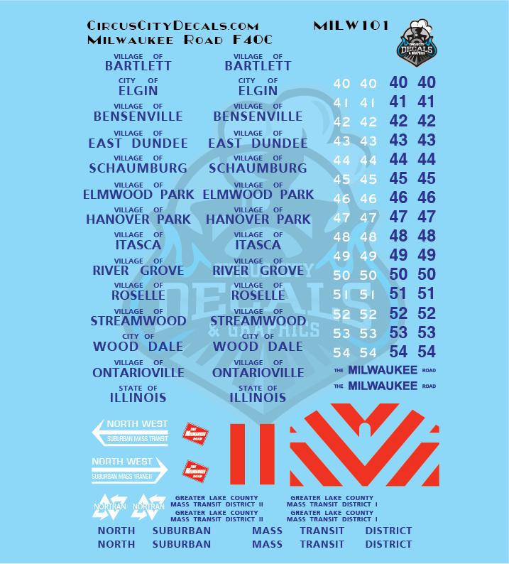 Milwaukee Road F40C MILW N Scale Decal Set