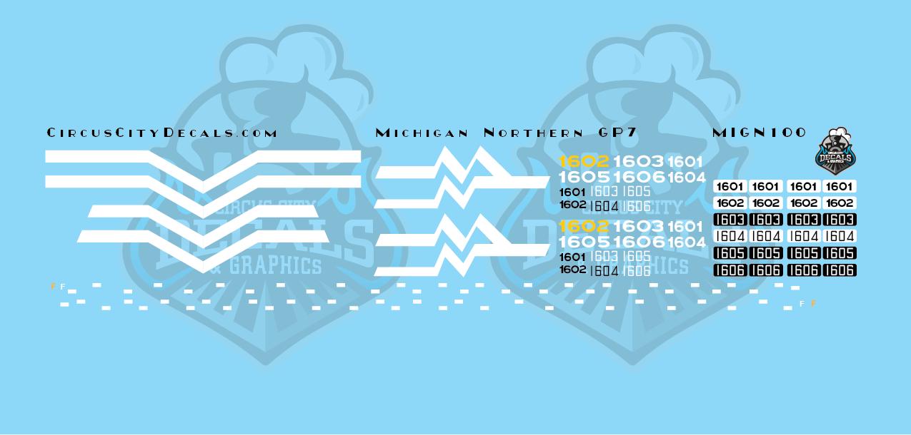 Michigan Northern GP7 Decal Set N Scale
