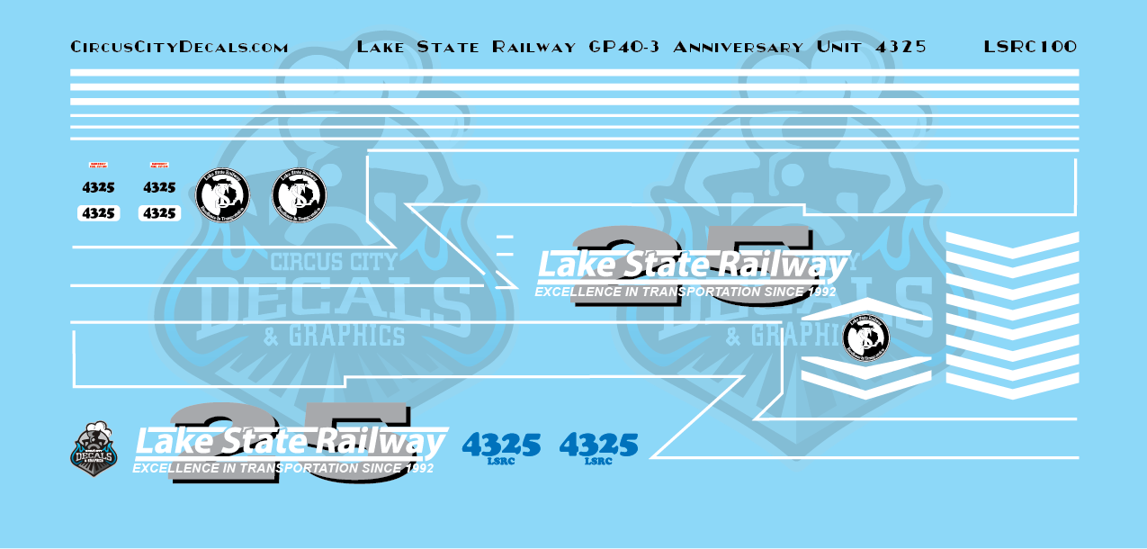 Lake State Railway GP40-3 4325 Anniversary Locomotive Decals N Scale