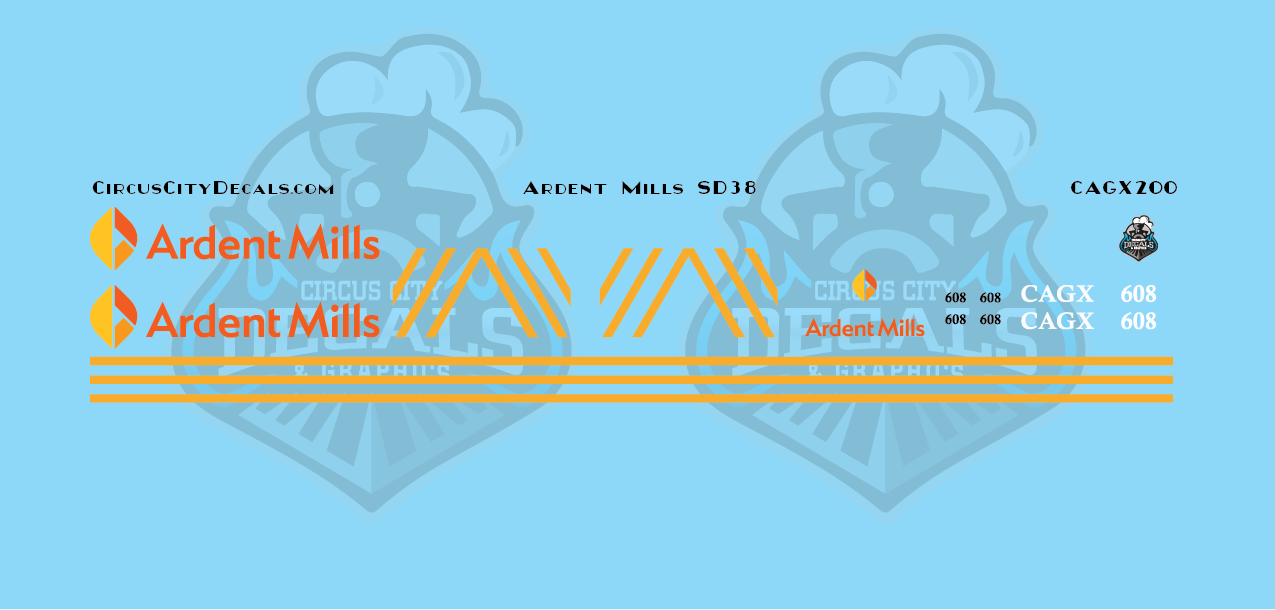 Ardent Mills CAGX SD38 608 HO Scale Decal Set