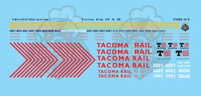Tacoma Rail GP & SD Locomotive N Scale Decal Set