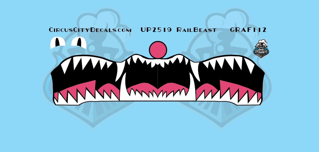 "Union Pacific UP SD60M 2519 ""RailBeast"" Graffiti Z Scale Decal Set"