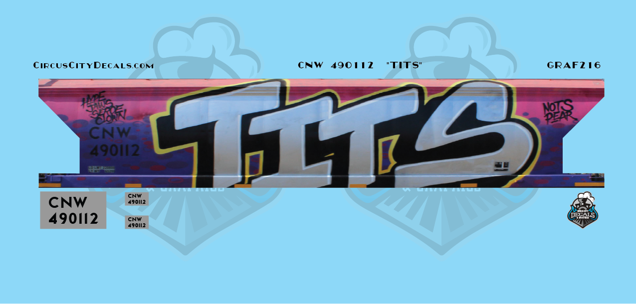 "CNW 490112 ""TITS"" Graffiti HO Scale Decal Set"