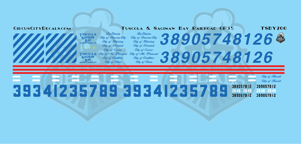 Tuscola and Saginaw Bay Railway TSBY GP35 HO Scale Decal Set