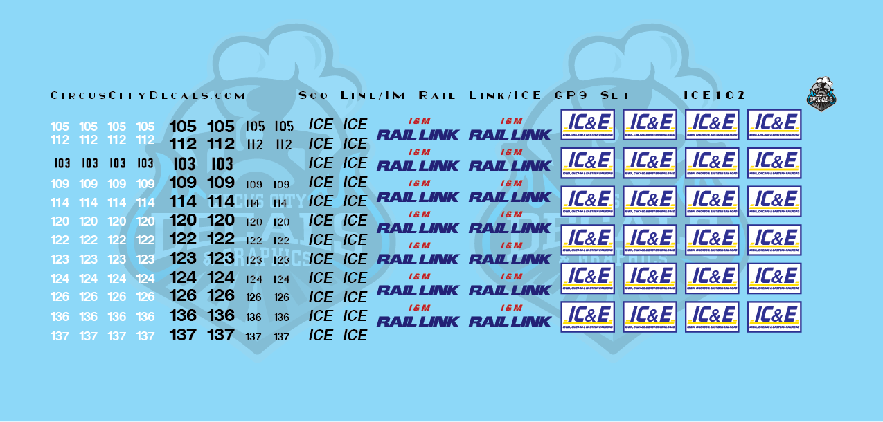 Iowa, Chicago, Eastern ICE IM Rail Link Soo Line GP9 Patch Set N Scale