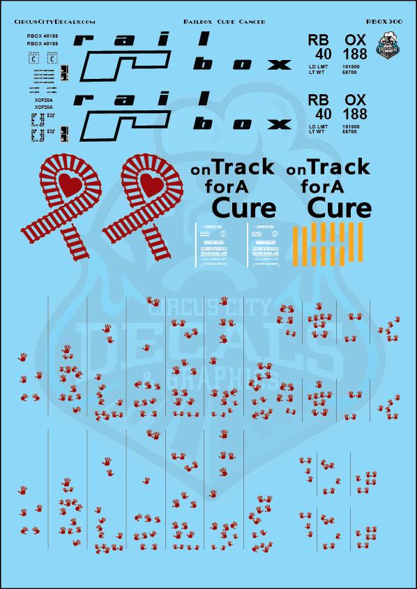 Railbox Cure Cancer 50' Boxcar 40188 O Scale Decal Set