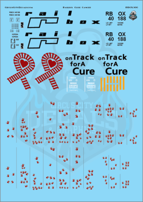 Railbox Cure Cancer 50' Boxcar 40188 O Scale Decal Set