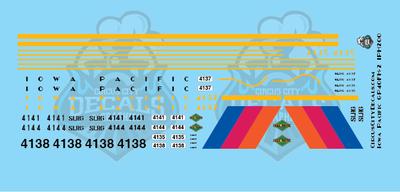 Iowa Pacific GP40FH-2 Locomotive HO Scale Decal Set 4135 4137 4138 4141 4144