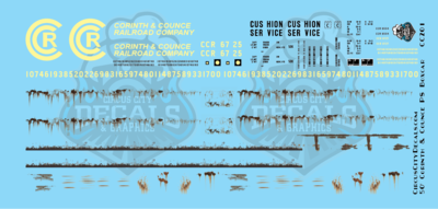 Corinth & Counce Faded 50' PS Boxcar S Scale Decal Set