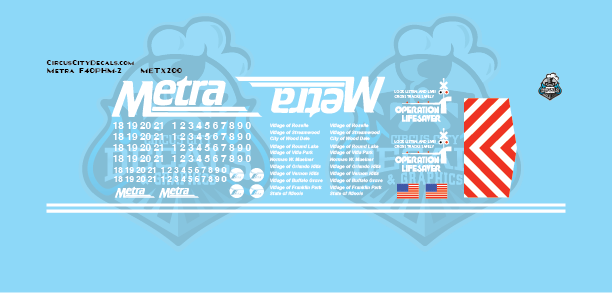 Metra METX F40PHM-2 HO Scale Decal Set