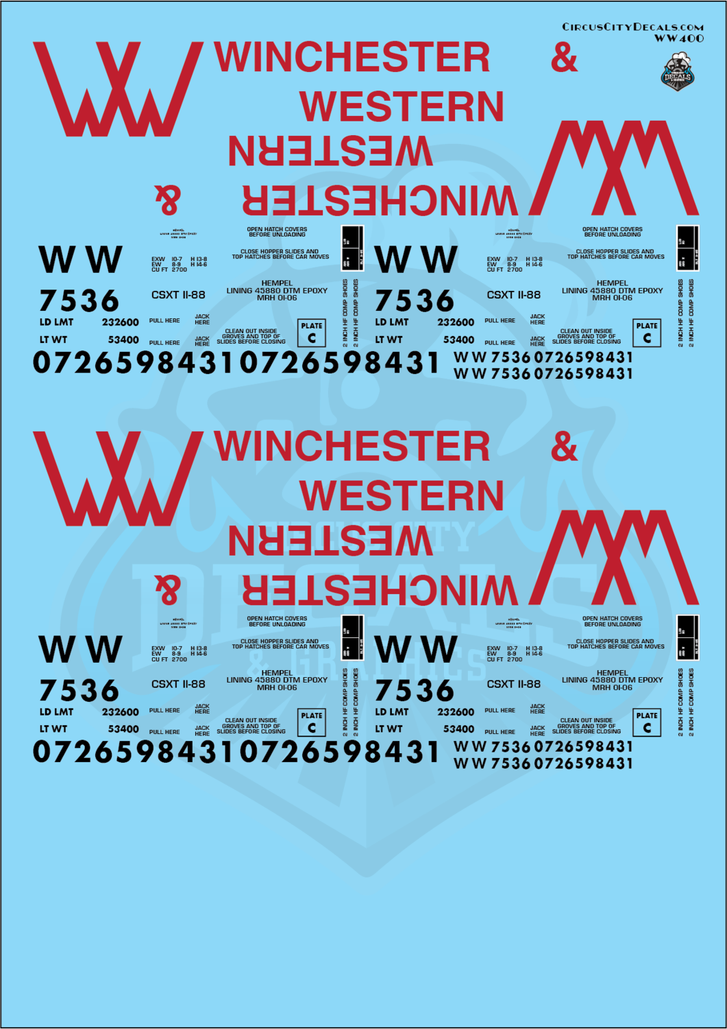 Winchester & Western Railroad 2 Bay Covered Hopper G Scale