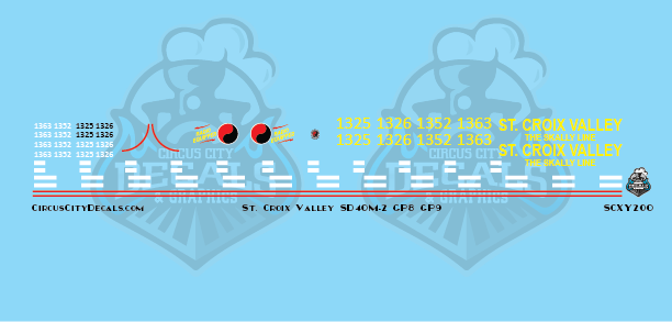 St. Croix Valley SD40M-2 GP8 GP9 SCXY The Skally Line HO Scale Decal Set