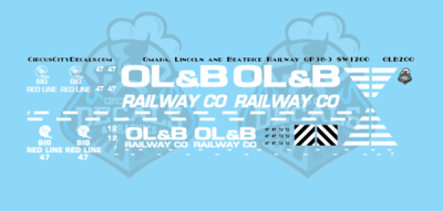 Omaha, Lincoln and Beatrice Railway GP38-3 SW1200 HO Scale Decal Set