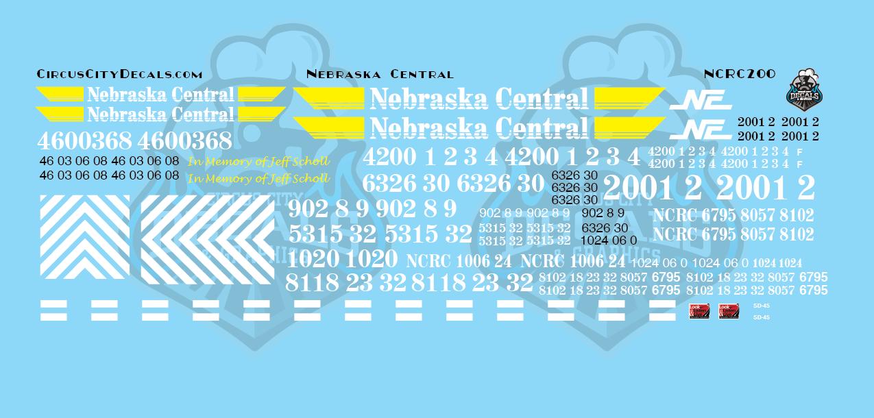 Nebraska Central Railroad Locomotives NCRC GP38-3 SD38-2 GP38-2 GP40 GP9R SD40-2 HO Scale