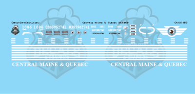 Central Maine & Quebec AC4400 Decal Set N Scale