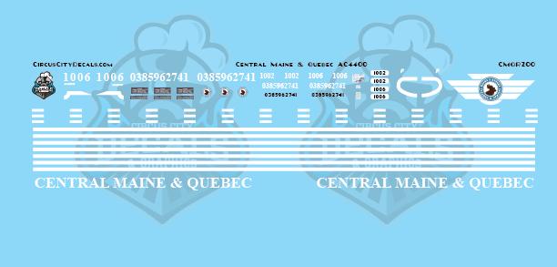 Central Maine & Quebec AC4400 Decal Set HO Scale