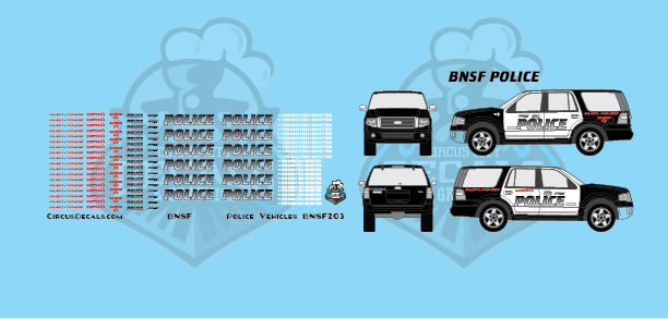 BNSF Police Vehicle HO Scale Decal Set
