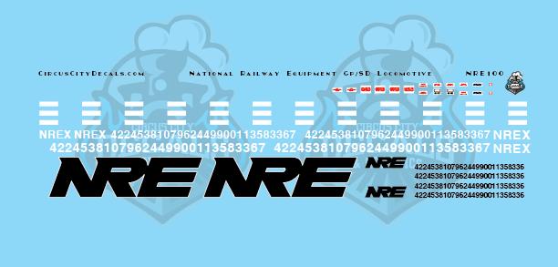 NRE National Railway Equipment GP/SD Locomotive Decal Set N Scale
