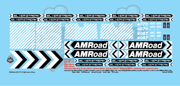 AMRoad Silver Streak Movie Train Decals Black HO Scale