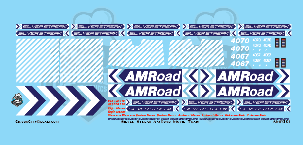 AMRoad Silver Streak Movie Train Decals Navy Blue HO Scale