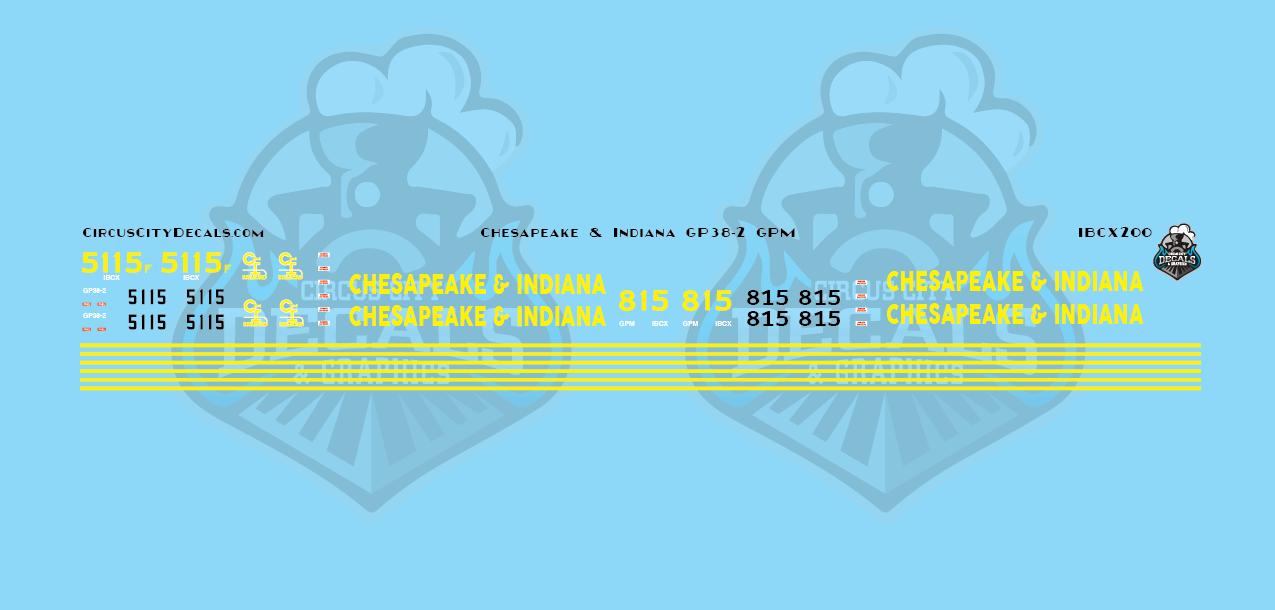 Chesapeake & Indiana Railroad GP38-2 5115 GPM 815 HO Scale