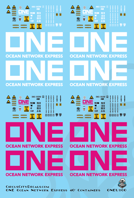 ONE Ocean Network Express 40' Intermodal Container Pink & White N Scale