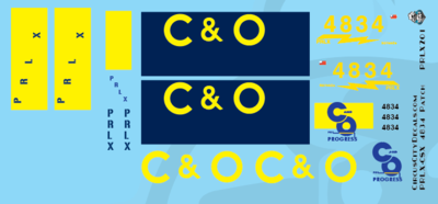 PRLX SD70ace CSX/C&O 4834 Patch HO scale Decal Set