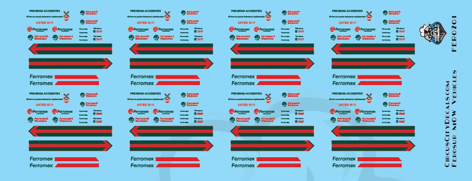 Ferromex MOW Vehicle HO Scale Decal Set
