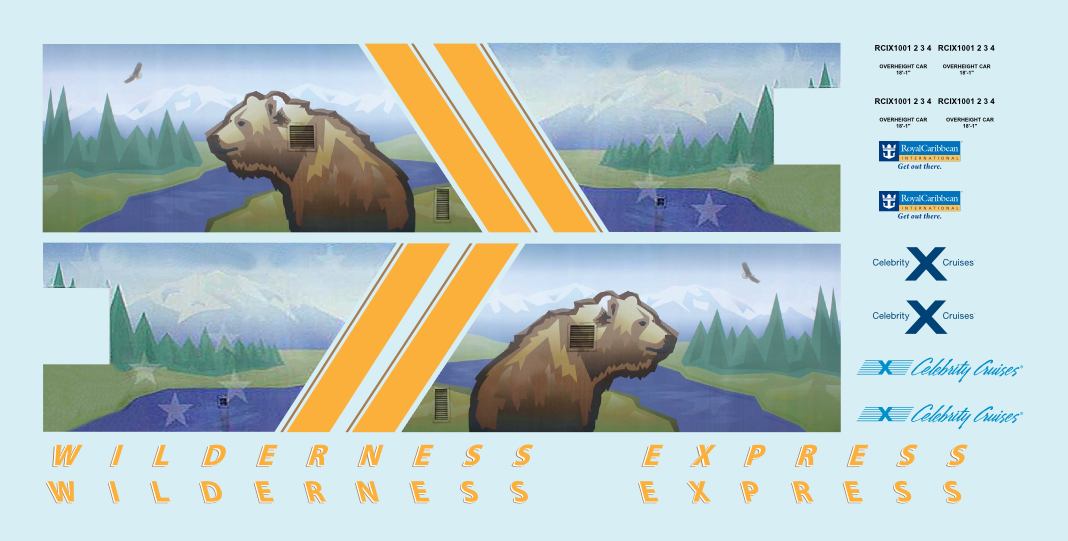 Alaska Railroad ARR Wilderness Express Dome HO Decals Royal Caribbean Mckinley