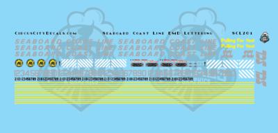 Seaboard Coast Line EMD Lettering HO Scale Decal Set