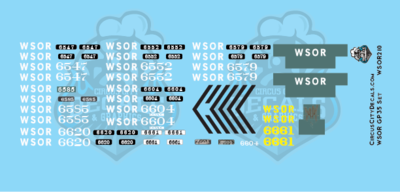 Wisconsin & Southern Railroad GP35 Decal Set WSOR