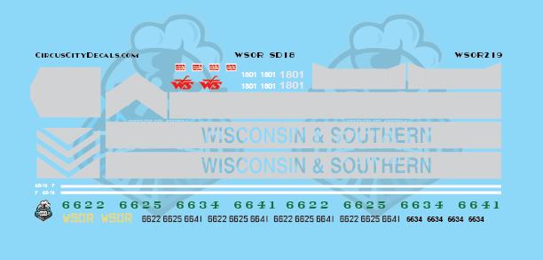 Wisconsin & Southern Railroad WSOR SD18 Locomotive Decal Set HO Scale