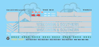 Wisconsin & Southern Railroad WSOR SD18 Locomotive Decal Set HO Scale